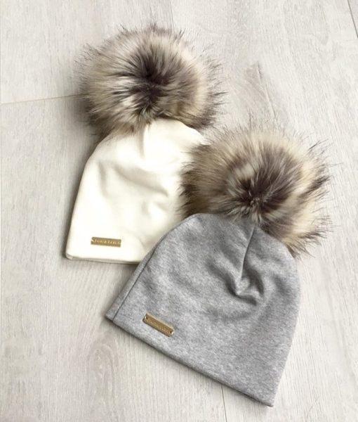 Naturhvit og lysegrå Brumlelue pels